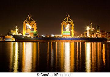 bateau industriel, soir, commerce
