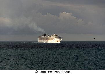 bateau, levers de soleil, croisière