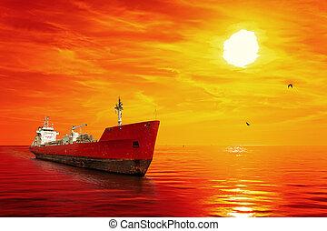 bateau, levers de soleil