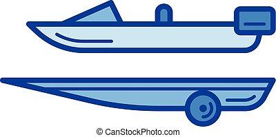 bateau, ligne, icon., caravane