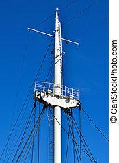 bateau, mât, closeup