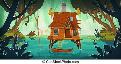 bateau marais, foyer échasse