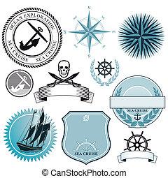 bateau, mer, icônes