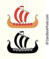 bateau, mer, nordique, vikings, drakkar