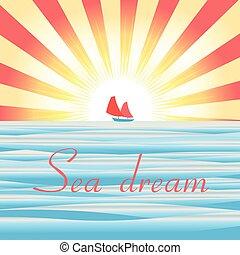bateau, mer, paysage