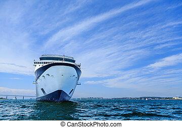 bateau, mer turquoise, croisière