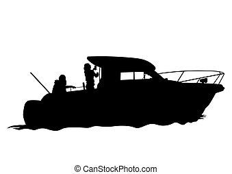 bateau moteur, deux