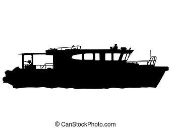 bateau moteur, mer