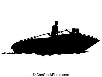 bateau moteur, trois