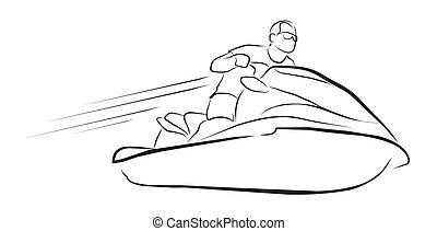 bateau, moto