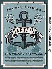 bateau, nautique, vendange, affiche, trident, ancre