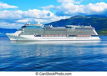 bateau, norvège, fjords, croisière