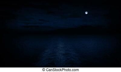 bateau, nuit, vue, dos, lune