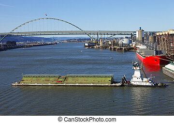 &, bateau, or., péniche, poussée, portland