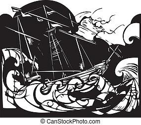 bateau, orage