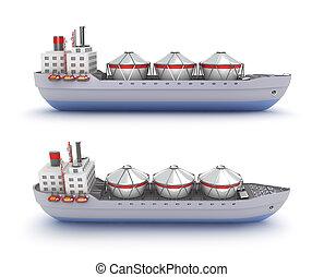 bateau, pétrolier, fond, blanc