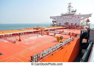 bateau, pétrolier, huile, port