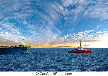 bateau, pétrolier, levers de soleil