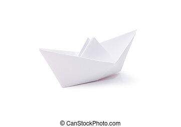 bateau, papier, isolé, fond, blanc