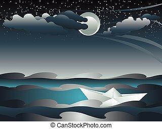bateau papier, mer