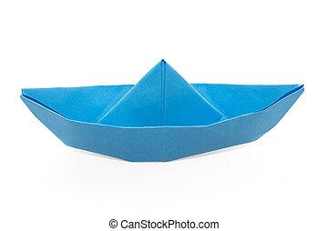 bateau papier bleu voile voilier eau papier origami. Black Bedroom Furniture Sets. Home Design Ideas