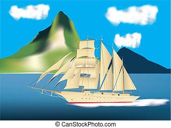 bateau, paquebot, voile, croisière