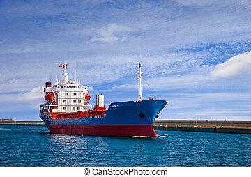 bateau, partir, les, port