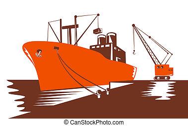bateau passager, grue, cargaison