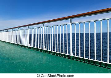 bateau passager, vert, pont