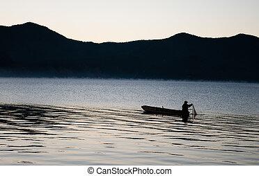 bateau, peche, dans, lac