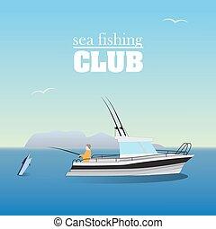 bateau, peche, mer, marlin