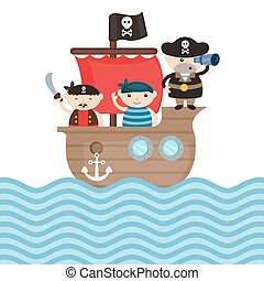 bateau, pirate, illustration