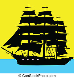 bateau, pirates, illustration