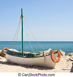 bateau, plage, à, levers de soleil, temps