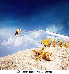 bateau, plage, bouteille
