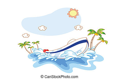 bateau, plage, dessin animé