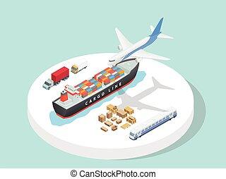 bateau, plat, transport, fête, avion, dessin animé, troisième, camion, isométrique, style, logistique, 3d, service, train