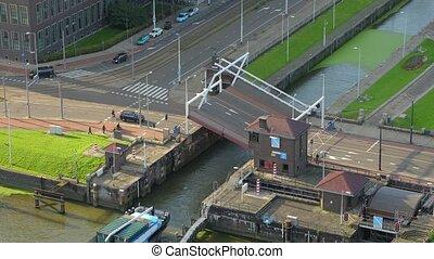 bateau, pont-levis, ouverture