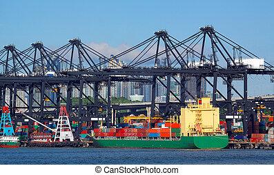 bateau, port maritime, grues, cargaisons, commerce