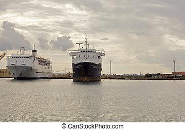 bateau, port, trapani