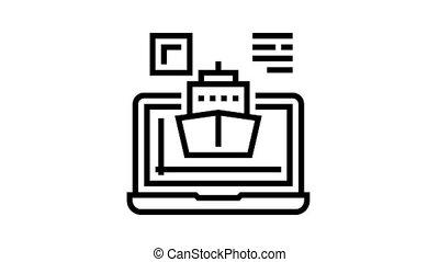 bateau, programme, icône, animation, ligne, informatique, modelage