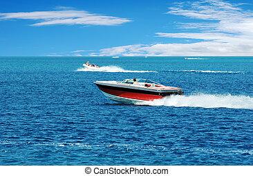 bateau puissance, rouges
