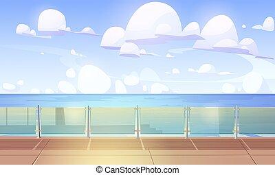 bateau, quai, balustre, ou, paquebot, verre, croisière, pont