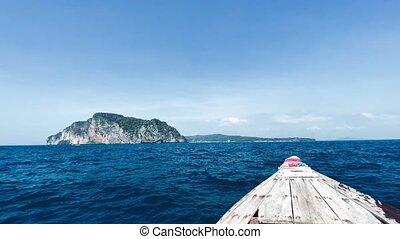 bateau, queue, visiter, îles, thaïlande, long