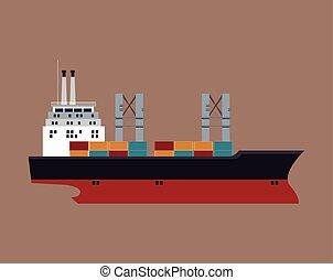 bateau, récipient cargaison, maritime, transport