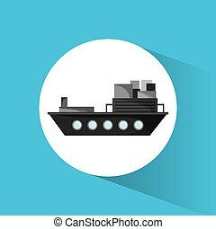 bateau, récipient cargaison, transport