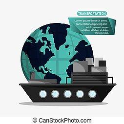 bateau, récipient cargaison, transport, mondial
