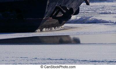 bateau, rivière, glace