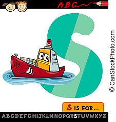 bateau, s, lettre, illustration, dessin animé