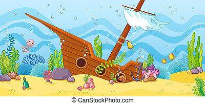 bateau, sea., sunken, fond